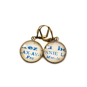 Golden music sheet studs earrings Partitions Blue Titre Morceaux