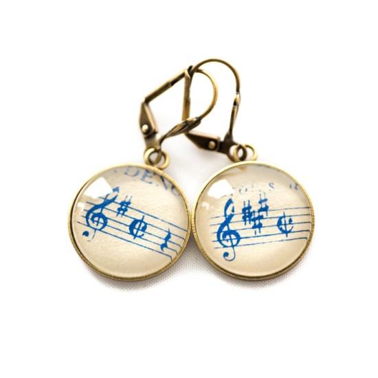 Boucles d'oreilles dorées Partitions Clés Sol Dièse bleue