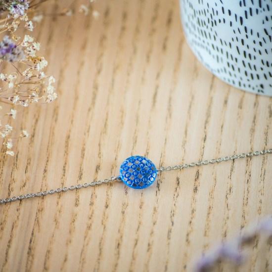 Assuna - Bracelet simple chaîne Eugénie bleu - inspiration vintage