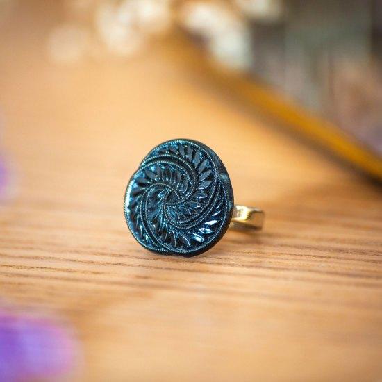 Assuna - Bague Zelda bleue - Bague bouton ancien d'inspiration vintage