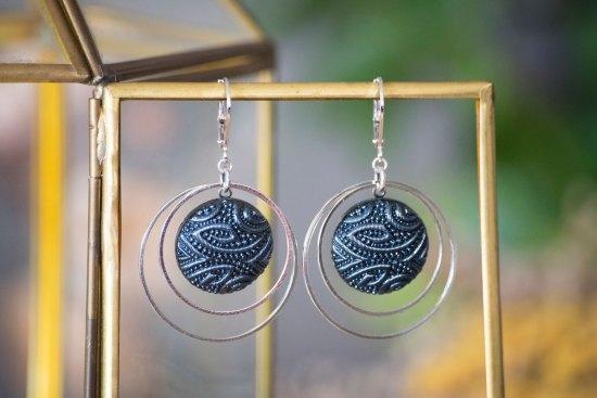 Assuna - Grandes dormeuses double cercles Garance bleu - inspiration vintage