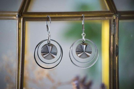 Assuna - Petites boucles Lunare Angèle argentée - inspiration vintage