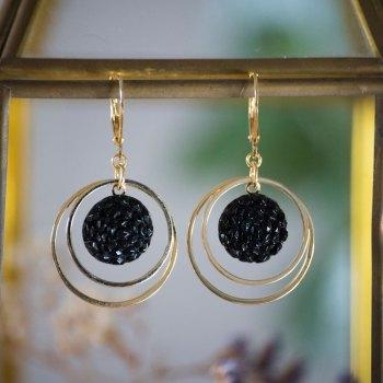 Petites boucles Lunare Gilberte noir