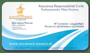 Assurance manège Responsabilité Civile Professionnelle Fêtes Foraines Niveau 1