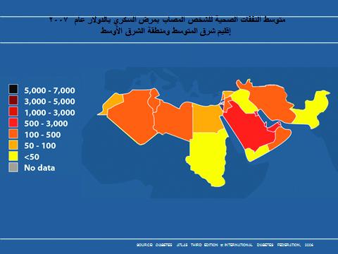 متوسط النفقات الصحية للشخص المصاب بمرض السكري بالدولار- إقليم شرق المتوسط ومنطقة الشرق الأوسط عام ٢٠٠٧
