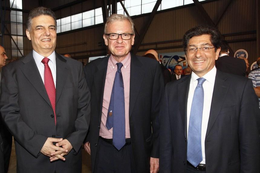 منير دويدي، سفير فرنسا باتريك باؤلي، والنائب عاطف مجدلاني