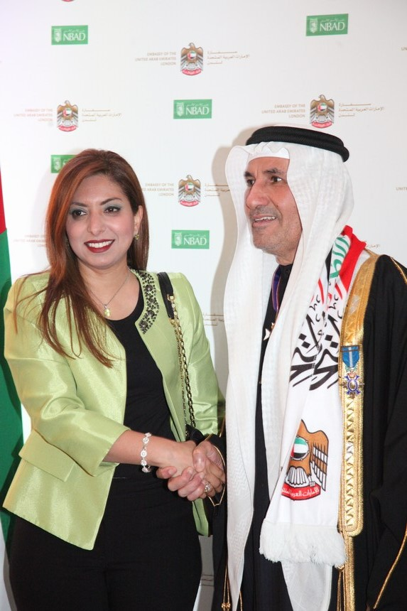 السفير الإماراتي عبد الرحمن المطيوعي مع أفنان الشعيبي