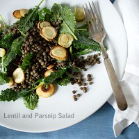 Lentil and Kale Salad with Carmelized Parsnips