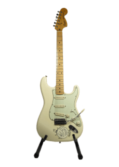 This Mac Demarco Signed Guitar was bought a couple nights before they played on New Year's Eve with the Strokes. The Guitar was on tour with them until everything got cancelled with COVID-19.