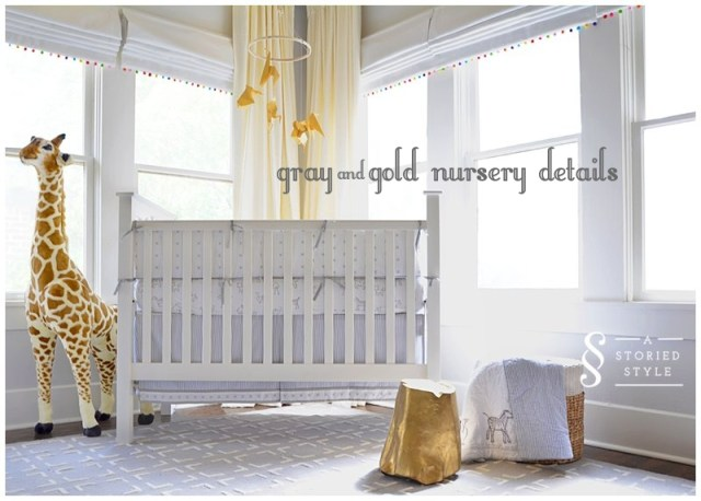 gray and gold nursery details