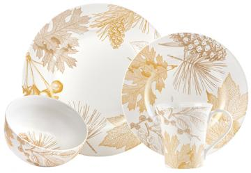 golden foliage dinnerware set
