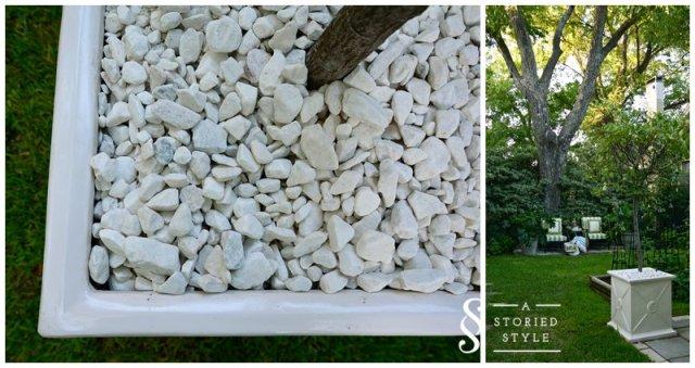 stones in planters