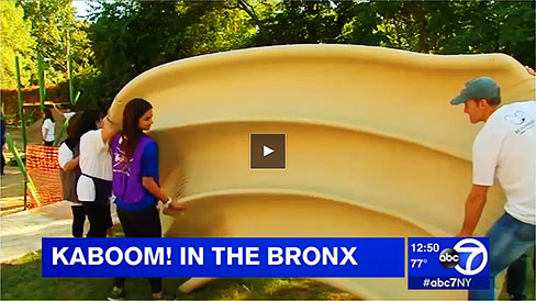 Play video: KaBoom playground building in the Bronx on ABC TV