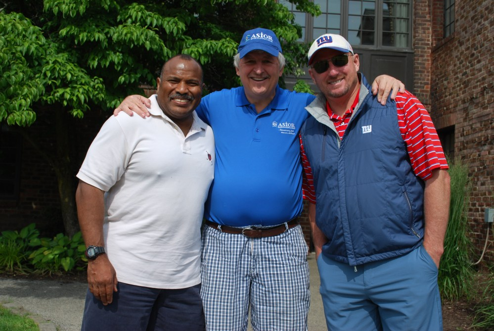 Astor's Executive Director/CEO Jim McGuirk with NFL stars Joe Morris & Jeff Feagles at the 20th Annual Stenburg Cup Golf Tournament & 3rd Annual Tennis Tournament.