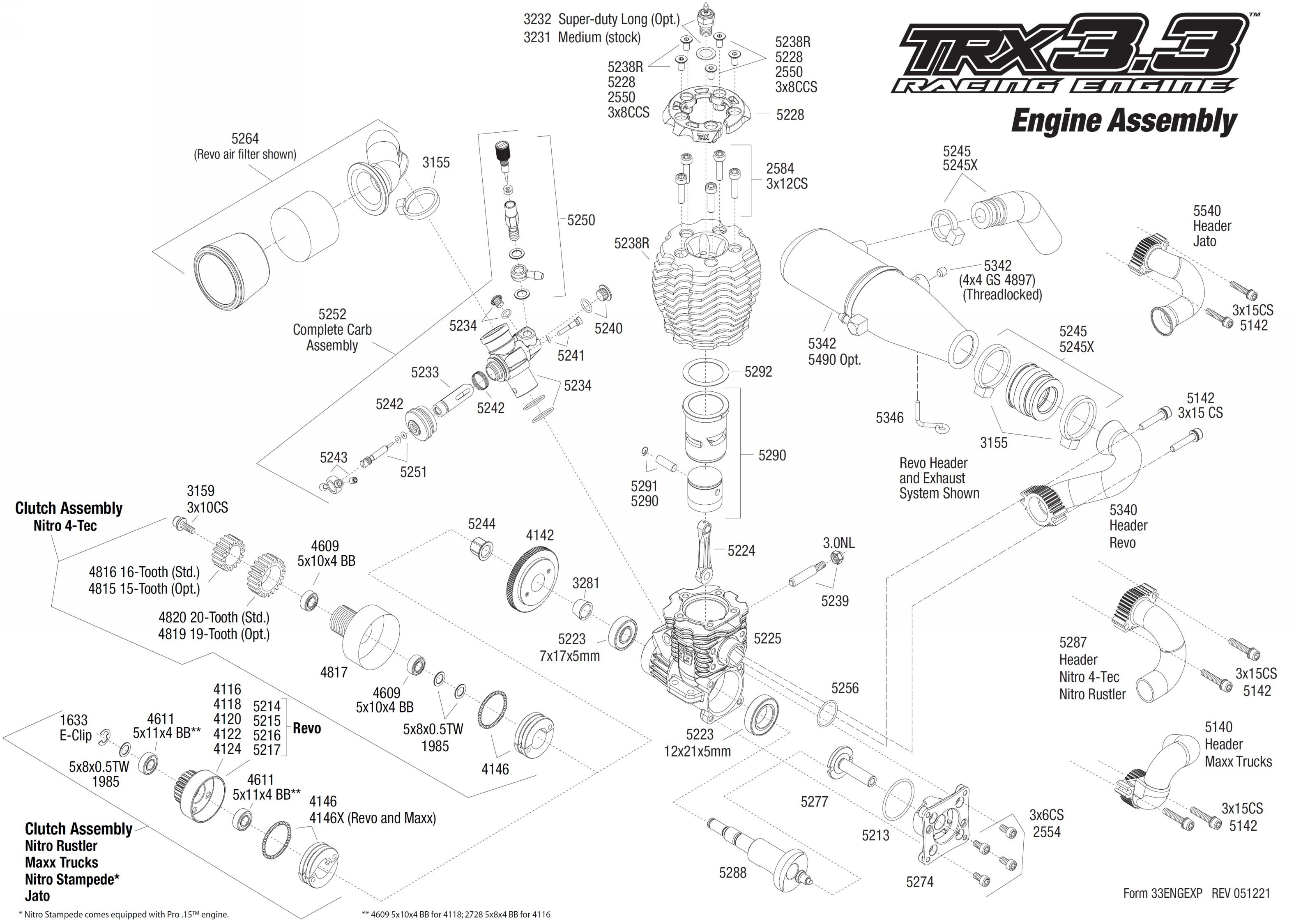 Exploded view: Traxxas engine TRX 33  Engine | Astra