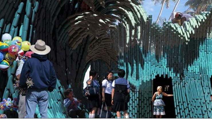 Πλαστικά μπουκάλια για την πρόσοψη καλλιτεχνικού σχολείου στο Μεξικό