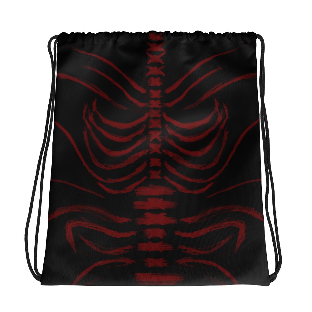 "Featured image for ""Grungy Ribcage - Red Black - Drawstring bag"""