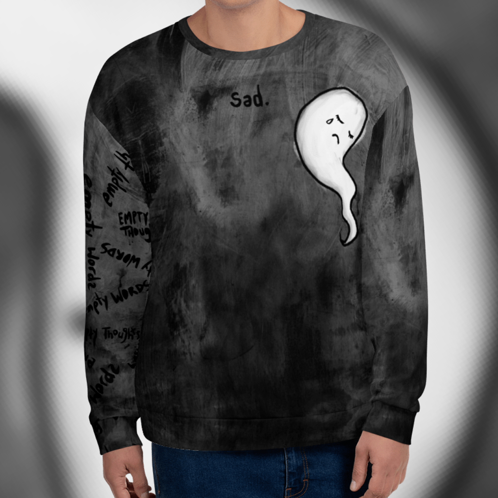 "Featured image for ""sad. - All Over Print - Unisex Sweatshirt"""