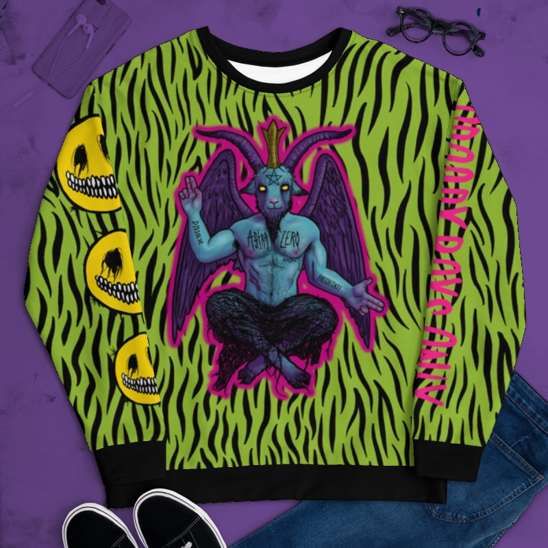 "Featured image for ""Too Much ( Green Zebra ) Unisex Sweatshirt"""