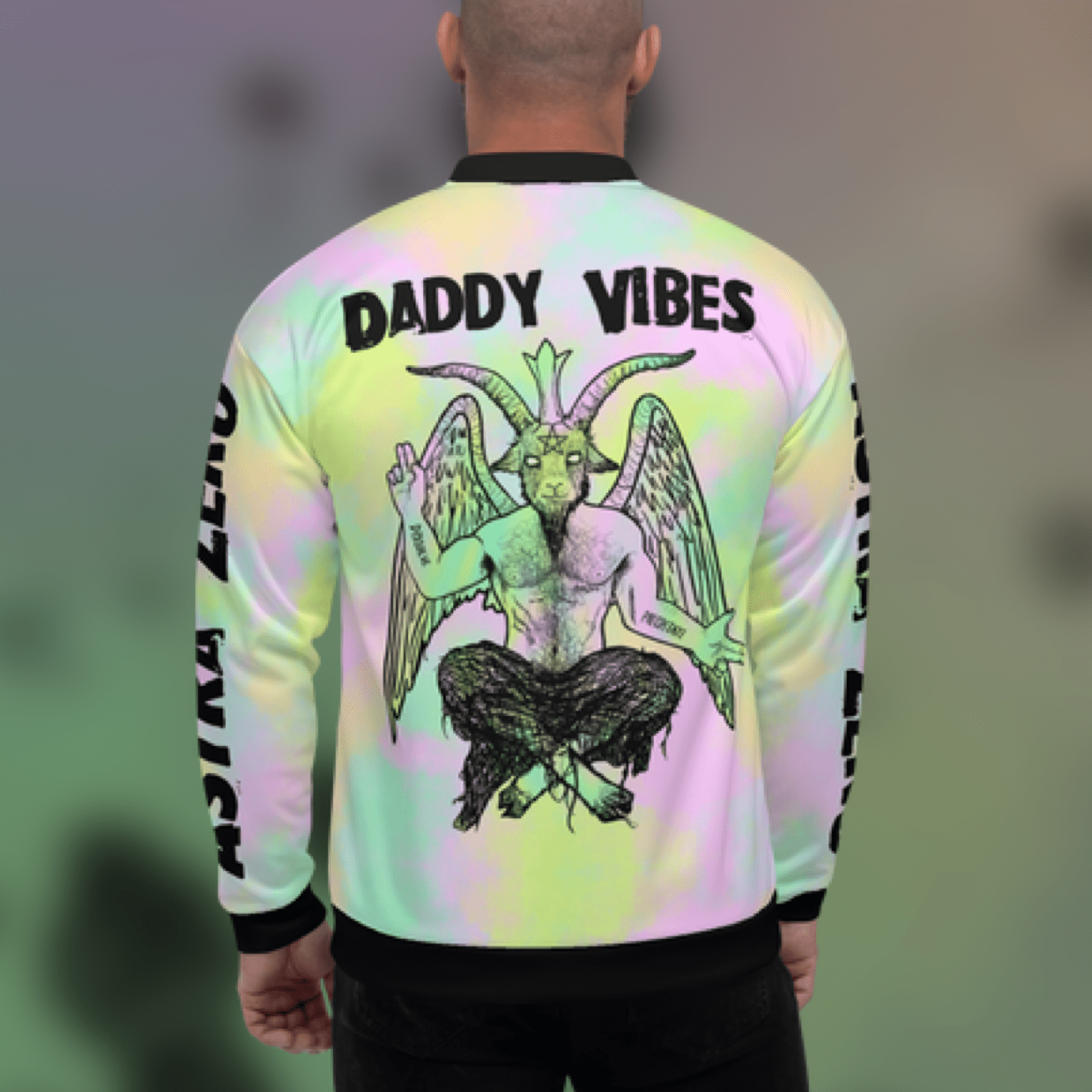 "Featured image for ""Daddy Vibes Baphomet Pastel - Unisex Bomber Jacket"""