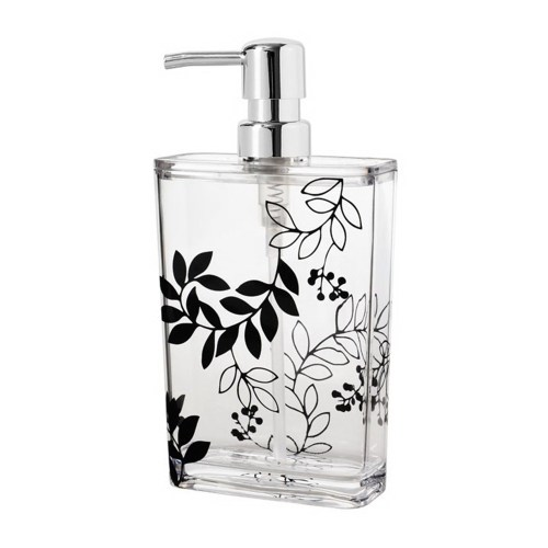 Bathroom Accessories, Clear Acrylic Bath&Lotion Organizer with Black Flower Style