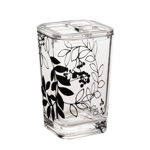 Classic Square Bathroom Organizer Brush Collection Holder Black Flower