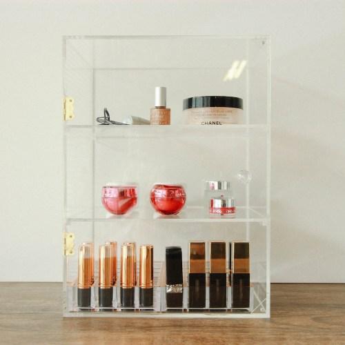 Dust-proof Three Layers Acrylic Cosmetics Organizer with Diamond Holder