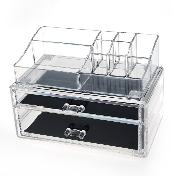 Acrylic Cosmetic Storage Makeup Organizer Series (2 Wide Drawers)