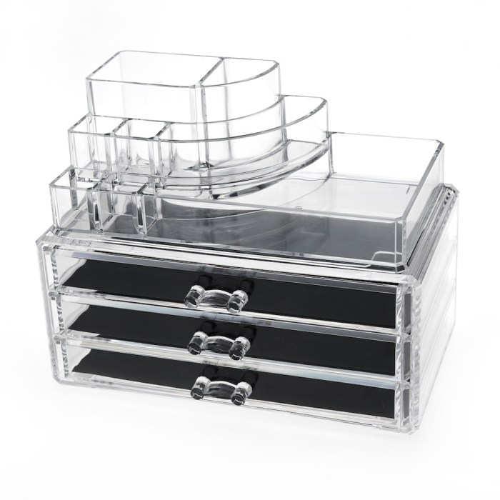 Desktop Clear Acrylic Lipstick and Cosmetic Organizer Series (3 Wide Drawers)