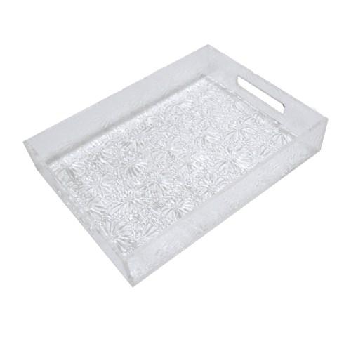 White Acrylic Handmade Flower Pattern File Organizer