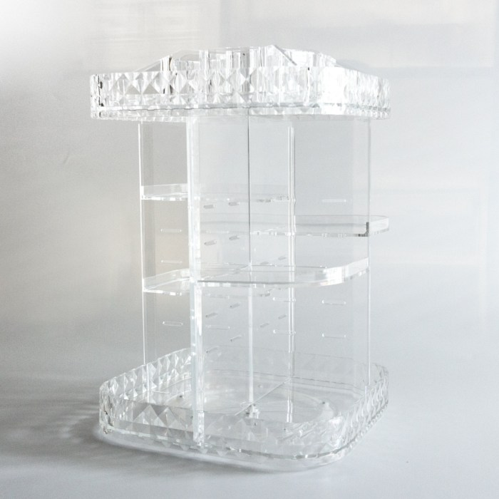 Square Desk Diamond Pattern Rotating Organizer