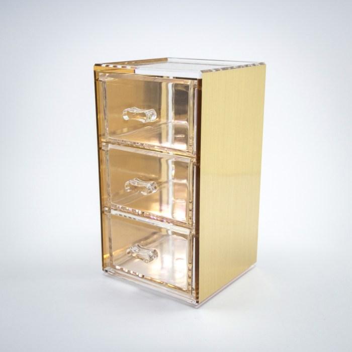 Gold Mini Desktop Storage Box with 3 Drawers
