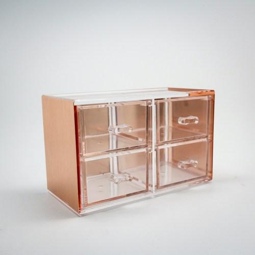Rose Gold Mini Desktop Storage Box with 4 Drawers