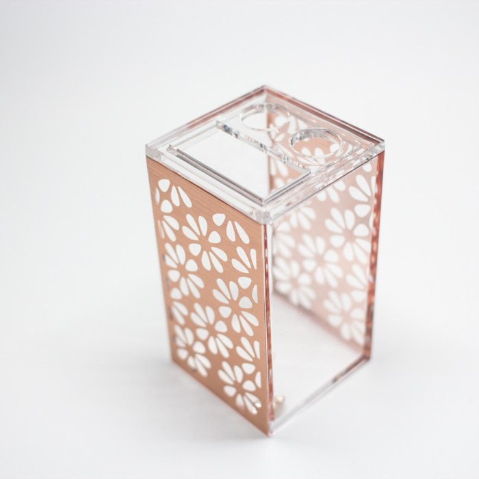 Rectangle Accessories Bath Toothpaste Holder Clear Rose Gold Flower
