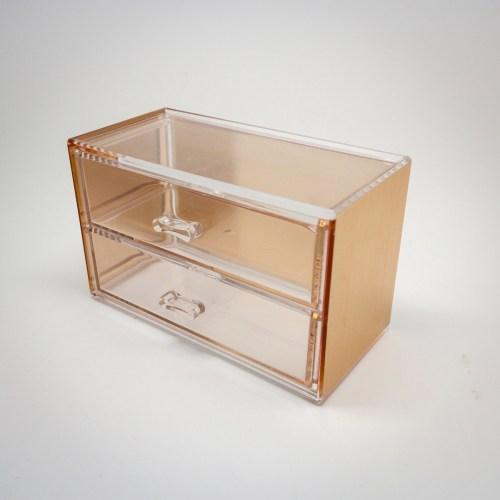 Rose Gold Mini Desktop Storage Box with 2 Wide Drawers