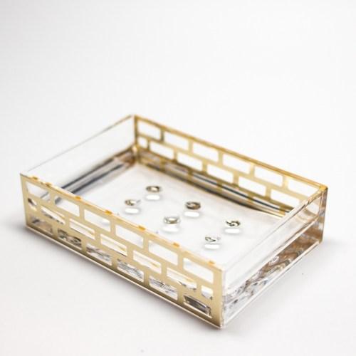 Rectangle Accessories Bath Soap Holder Dish Gold Block