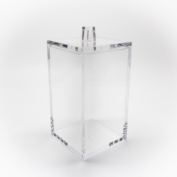 Rectangle Accessories Bath Bottle with Lid Clear