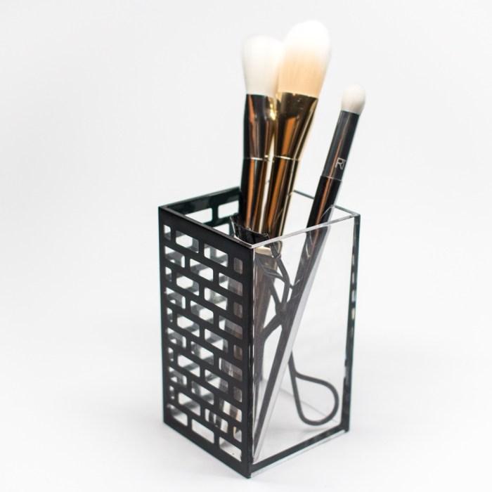 Acrylic Bathroom Cup Organizer Black Block