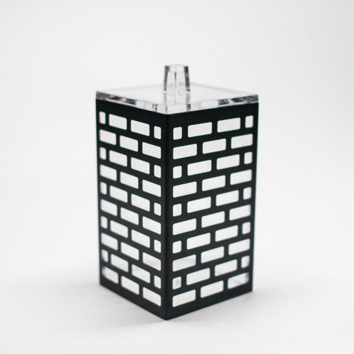 Rectangle Accessories Bath Bottle with Lid Black Block