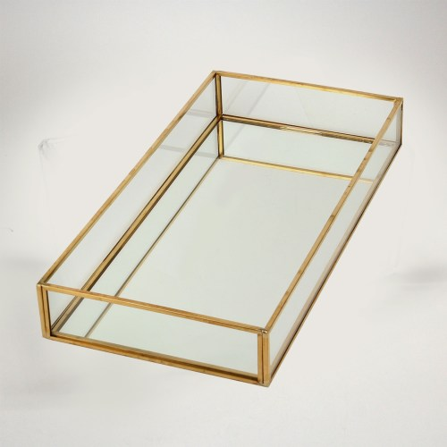 Simple Mirror Vintage Copper Long Display Tray