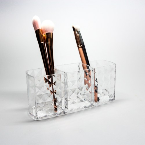 Crystal Pattern 3 Partitions Brush and Makeup Organizer