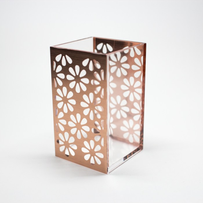 Acrylic Bathroom Cup Organizer Rose Gold Flower