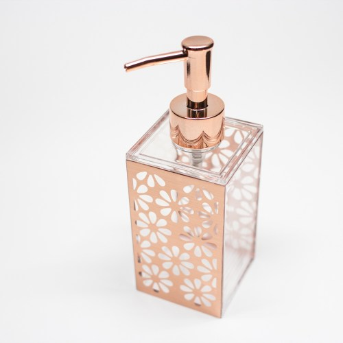 Rectangle Accessories Bath Shower Dispenser Rose Gold Flower