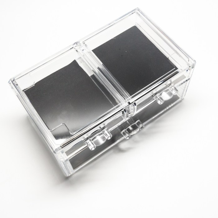 Transparent Multipurpose Storage Box With 2 Small Drawers 1 Wide Drawers
