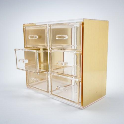Gold Mini Desktop Storage Box with 6 Drawers