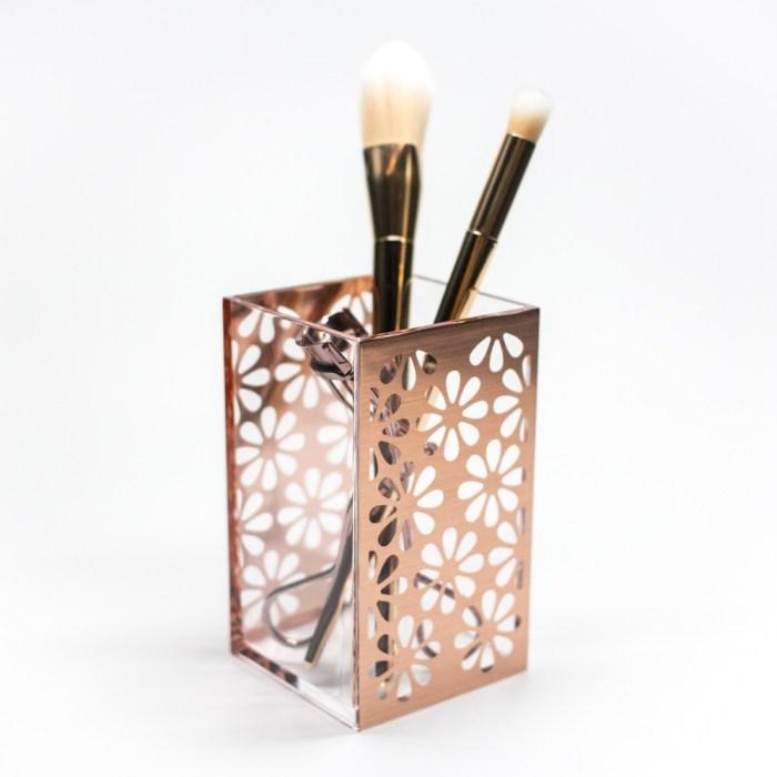Acrylic Bathroom Cup Organizer Rose Gold Flower