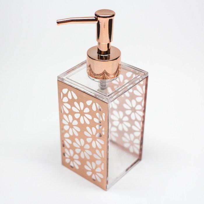 Rectangle Accessories Bath Shower Dispenser Rose Gold Flower
