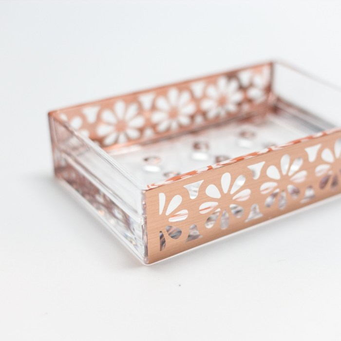Rectangle Accessories Bath Soap Holder Dish Rose Gold Flower