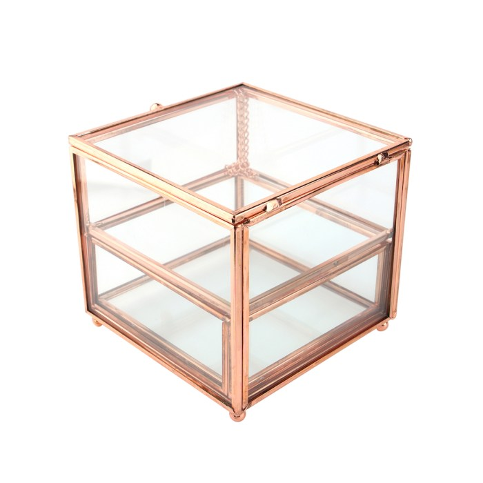 Rose Gold Metal Cube Clamshell Accessories Organizer