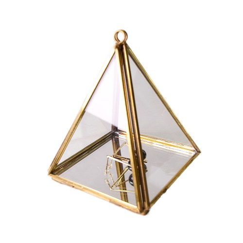Small Vintage Copper Metal Pyramid Accessories Organizer with Hanging Hole